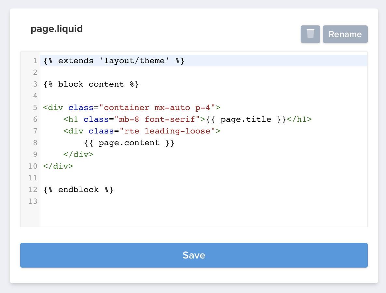 page.liquid code